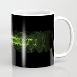 Plasma or high energy force concept. Green glowing energy waves on black Coffee Mug