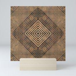 Geometric Wooden texture pattern Mini Art Print