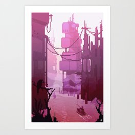 Rowing through the ruins Art Print