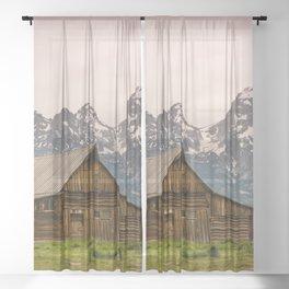 Grand Teton National Park Adventure Barn - Landscape Photography Sheer Curtain