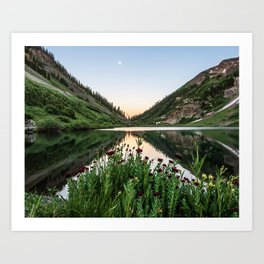 Natures Bouquet // Green and Red Floral Foreground Mountain and Moon Reflection Art Print