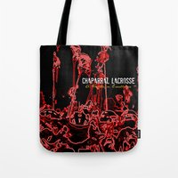 lacrosse Tote Bags featuring Chaparral Lacrosse Stix by TMCdesigns