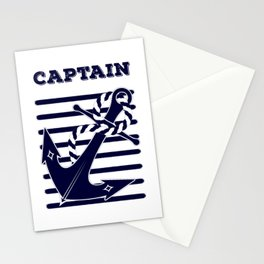 Nautical Navy Blue Anchor and Stripes Captain's Design Stationery Cards