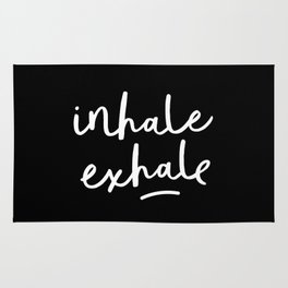 Inhale Exhale black-white typography poster black and white design bedroom wall home decor Rug