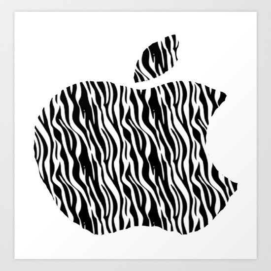 Zebra Print Apple Art Print
