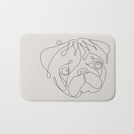 One Line Pug Bath Mat