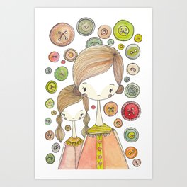Motherhood Button Collection Art Print