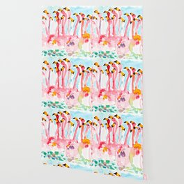 Welcome to Miami - Flamingos Illustration Wallpaper
