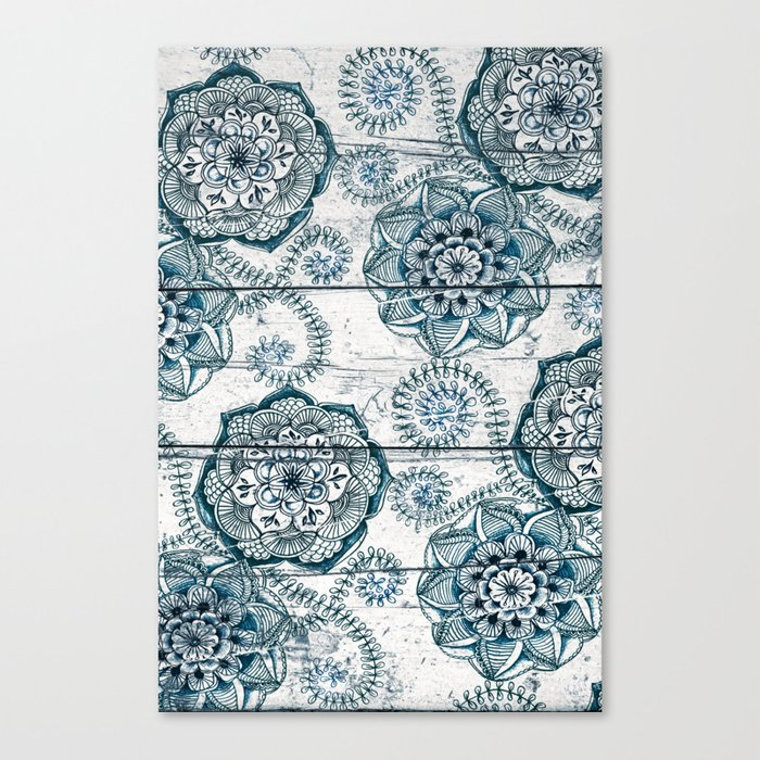 Navy Blue Floral Doodles on Wood Canvas Print