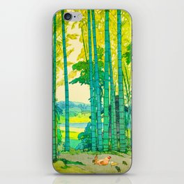 Yoshida Hiroshi Bamboo Grove Vintage Japanese Woodblock Print Bright Green Bamboo Landscape Forest iPhone Skin