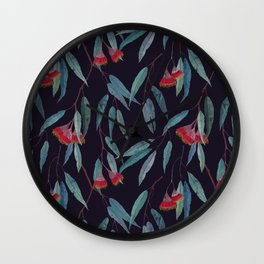 Eucalyptus leaves and flowers on dark violet Wall Clock
