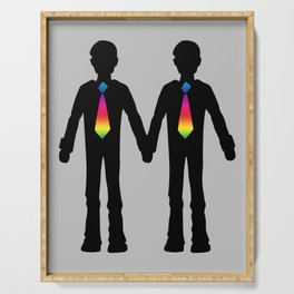 Gay Couple Holding Hands Serving Tray