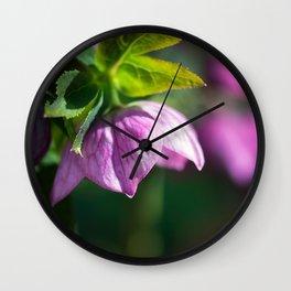 Pink Lenten Rose Wall Clock