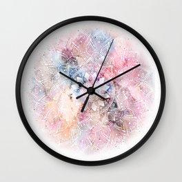 Whimsical white watercolor mandala design Wall Clock