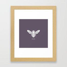 Humblebee White on Purple Background Framed Art Print