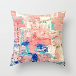 Contemporary Palette Knife Abstract Plaid 5 Throw Pillow
