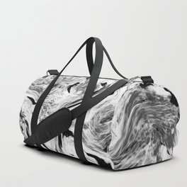Swirly Black & White Marble Duffle Bag