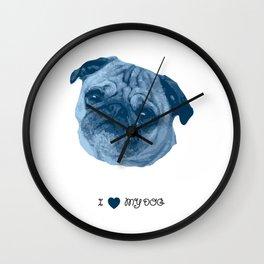 I love my dog - Pug, blue Wall Clock