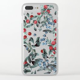 Festive Christmas Berries Pattern Clear iPhone Case