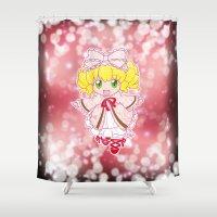 chibi Shower Curtains featuring Chibi Hinaichigo by Yue Graphic Design