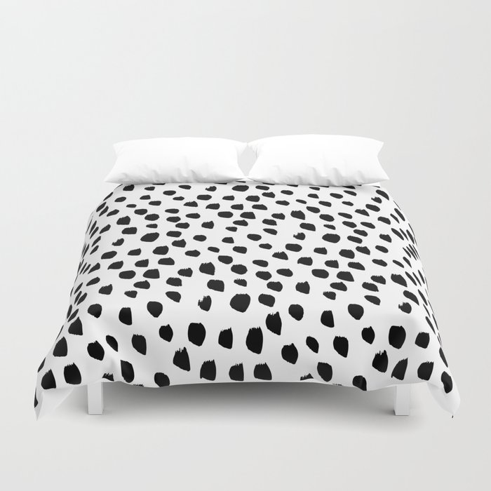 Hand drawn drops and dots on white - Mix & Match with Simplicty of life Duvet Cover