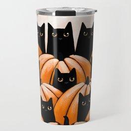 Black Cats in the Pumpkin Patch Travel Mug