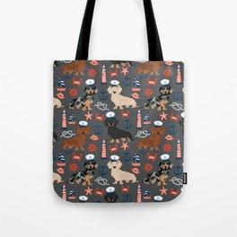 Dachshund nautical sailor dog pet portraits dog costumes dog breed pattern custom gifts Tote Bag