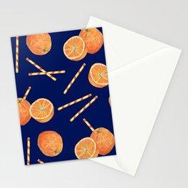 orange juice _ blue Stationery Cards