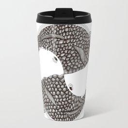 Pisces - Fish Koi - Japanese Tattoo Style (black and white) Travel Mug