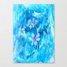 Blue encaustic flowers Canvas Print
