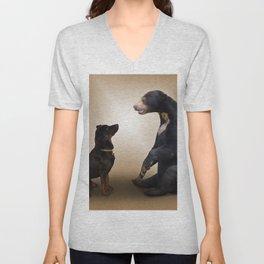 Dog And Bear Unisex V-Neck