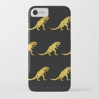 trex iPhone & iPod Cases featuring Golden T.Rex Pattern by chobopop