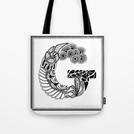 Zentangle G Monogram Alphabet Initials Tote Bag