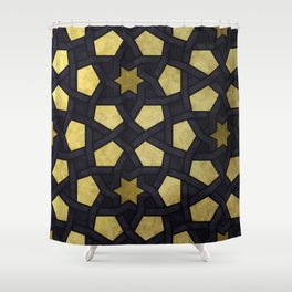 Contemporary Geometric Pattern Accented By Gold Stars Shower Curtain