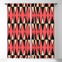 Mid Century Modern Diamond Pattern Red Black cream 231 Blackout Curtain