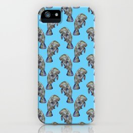 Blue Watercolor Manatee Pattern iPhone Case