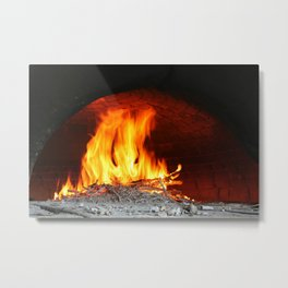 Fire inside an old stone oven Metal Print