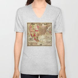 The Washington Map of the United States (1860) Unisex V-Neck