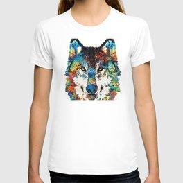 Wolf Art Print - Hungry - By Sharon Cummings T-shirt