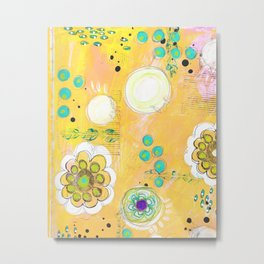 Yellow Floral Background Mixed Media by Glimmerbug Metal Print