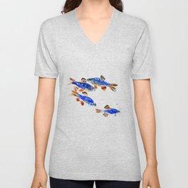 Pearl Danio Fish, Blue red aquatic design decor Unisex V-Neck