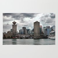 vancouver Area & Throw Rugs featuring Vancouver Harbour by Anthony M. Davis