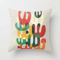 cactus Throw Pillows featuring Cactus by Picomodi