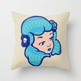 Girl Power Aqua Babe Throw Pillow