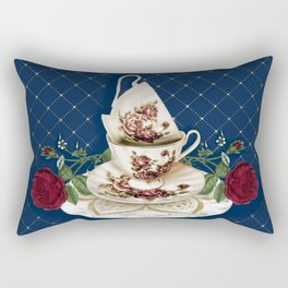 Vintage Rose Tea Cups Rectangular Pillow