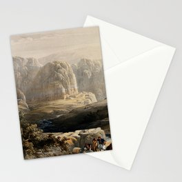 Vintage Print - The Holy Land, Vol 3 (1843) - Ancient city of Petra, looking south Stationery Cards