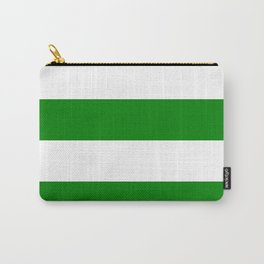 Wide Horizontal Stripes - White and Green Carry-All Pouch