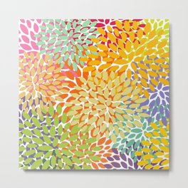 Floral Pattern, Colorful, Yellow, Summer and Spring Metal Print
