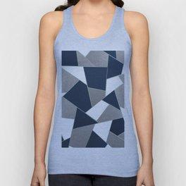 Navy Blue Gray White Mint Geometric Glam #1 #geo #decor #art #society6 Unisex Tank Top