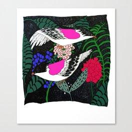 Sgraffito Birds - Bright Fuchsia Botanical Birds and Flowers Canvas Print